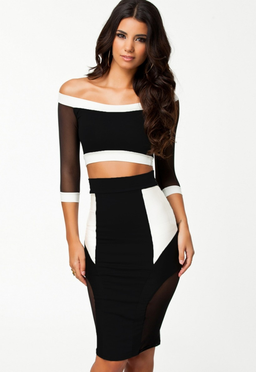 2015-fall-fashion-for-women-half-sleeve-white-black-patchwork-insert-mesh-crop-top-pencil-skirt