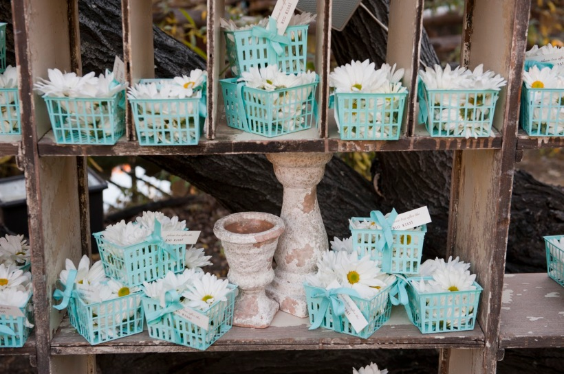 shabby chic wedding white daisy in tiffany blue berry baskets