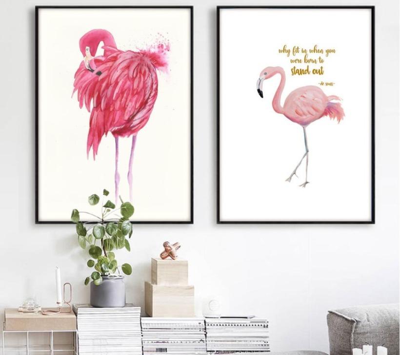 2017-New-Arrival-font-b-Flamingo-b-font-cartazes-da-arte-da-parede-da-lona-pintura